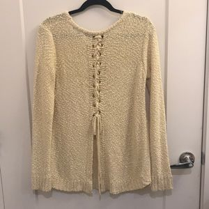Cream Sweater with Lace Up Back - Size Medium